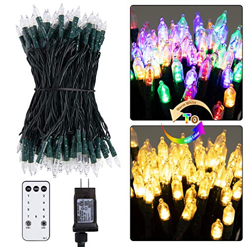 Dual Color LED Christmas Lights, 75 feet 200 LED Clear Mini String Lights with Remote, Color Changing Lights for Xmas Tree Outdoor Indoor Holiday Party Garden Decor