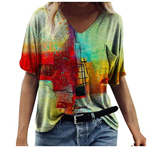 Casual Women's V-Neck Short Sleeve Tops Classic Women's T-Shirt Fashion Tie-dye Blause Tee Plus Size Tshirt Tops for Teen Girls Summer Vacation Gifts Green