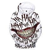 Haha Joker - Sudaderas con capucha para disfraz de Halloween, unisex, con estampado en 3D, con capucha