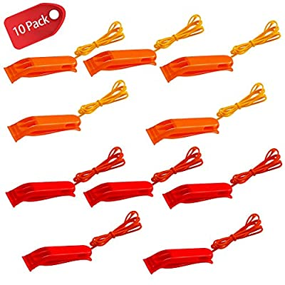 ShengTu Safety Whistles Emergency Whistle Plastic Whistle Red and Orange Set with Lanyard (10 Pack) for Boating Camping Hiking Hunting Emergency Survival Rescue