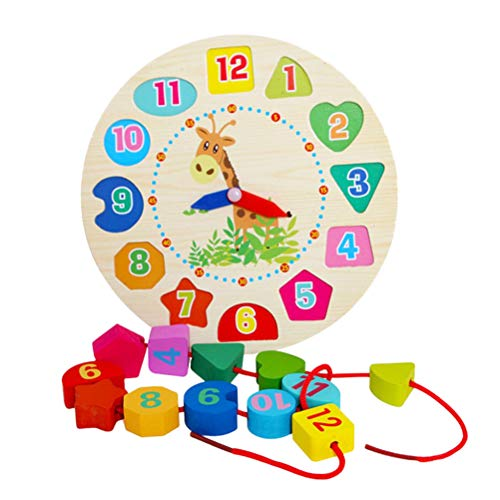 YeahiBaby Holz Lernuhr Fädelspiel Zahlenpuzzle Formen Sortierspiel Motorik Spielzeug für Baby Kinder Kleinkind