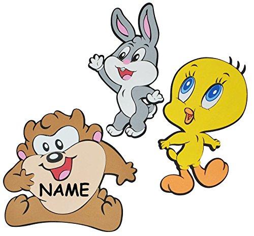 alles-meine.de GmbH 3 TLG. Set: 3-D Wandbild / Wandtattoo / Türschild - Baby Looney Tunes Tweety incl. Namen - aus Moosgummi - Bugs Bunny Taz Wandsticker Wanddeko für Kinderzimme..