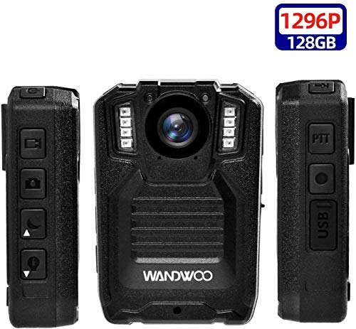 1296P Police Body Camera,128G Memory,WANDWOO Premium Portable Body Camera,Waterproof Body-Worn Camera with 2 Inch Display,Night Vision for Law Enforcement Recorder,Security Guards