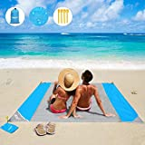 OUSPT Beach Blanket, Sand Free Picnic Outdoor Mat- Large 78'' x 82'' - Pocket Zippered Portable Waterproof Soft Fast Drying Nylon Oversize Blanket for Travel Camping Hiking (New-Gray)