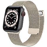Meliya Armband Kompatibel mit Apple Watch Armband 38mm 40mm 42mm 44mm, Edelstahl Metall Ersatzarmband mit Doppelmagnet für iWatch Series SE 6 5 4 3 2 1 (38mm/40mm, Champagner)