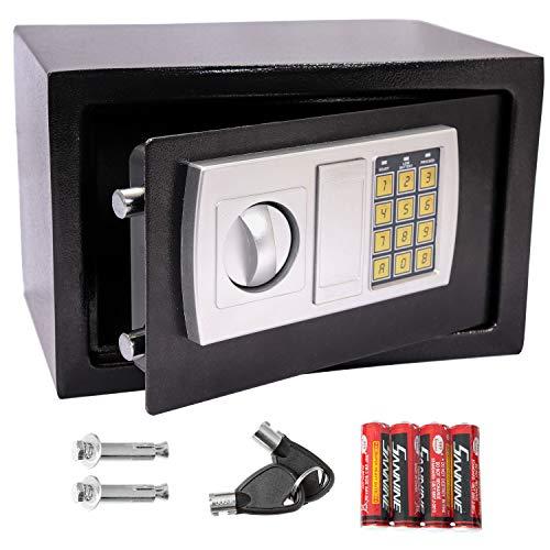 Panorama24 Tresor Safe mit Elektronik-Zahlenschloss 31x20x20cm LED-Anzeige Stahlbolzen, schwarz, inkl. 4 Batterien, Möbeltresor Wandtresor Wandsafe Home