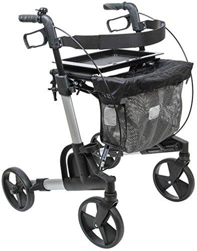 FabaCare Rollator Set Kudu Medium (mitttel) 312076, Premium Aluminium-Leichtgewichtrollator, silber, inkl. Tasche, Tablett, Ankipphilfe, Stockhalter und Klingel, mit FabaCare Sicherheitsreflektoren