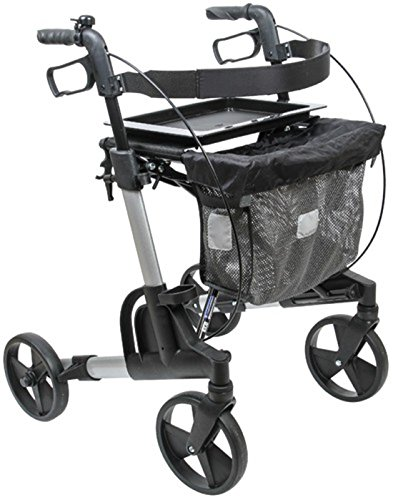 FabaCare Rollator Set Kudu Small (klein) 312077, Premium Aluminium-Leichtgewichtrollator, silber, inkl. Tasche, Tablett, Ankipphilfe, Stockhalter und Klingel, mit FabaCare Sicherheitsreflektoren
