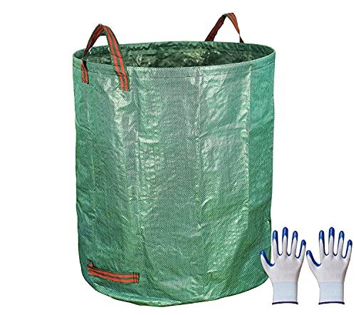 272L ガーデンバッグ ガーデンバケツ ガーデングローブ付き 大型庭用袋 自立式 ゴミ袋 頑丈なコンポストバッグ 集草 剪定 コンポスト 堆肥 折りたたみ ガーデンバケツ 腐葉土 エコ 家庭菜園 収納 かご ギフト (1枚セット)