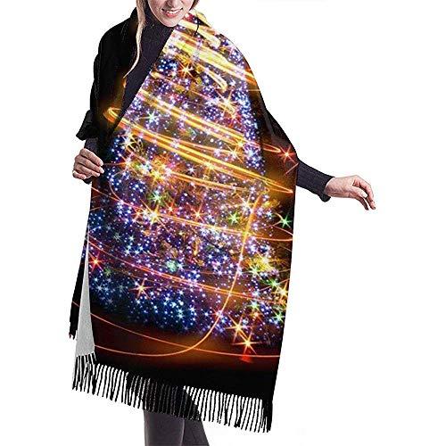 Zseeda Kreative Weihnachtsbaum Print Cashmere Schal Womens Casual Warm Schal Wrap Schal groß