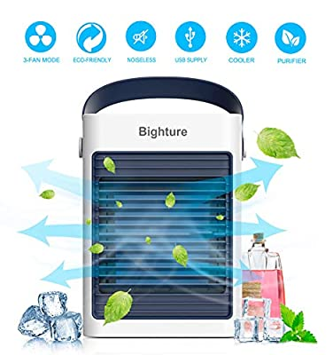 Portable Air Conditioner, Mini Space Cooler Noiseless, USB Air Purifier with Cooling Fan, 3 Wind Speed Touch Control, Personal Small Desktop Evaporative Conditioner for Room, Office, Nightstand
