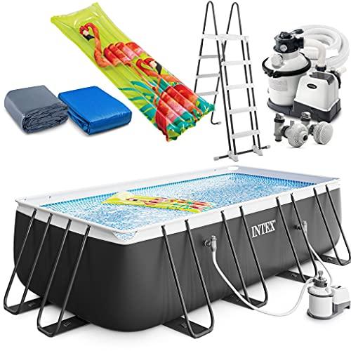 Intex Ultra XTR Frame Swimming Pool rechteckig 549 x 274 x 132 cm Schwimmbecken 26356 Komplett-Set mit Sand-Filteranlage sowie Extra-Zubehör wie: Luftmatratze