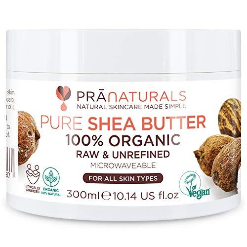 PraNaturals 100% Bio Sheabutter 300ml, Rohes, unraffiniertes Extra Virgin A-Grade African Pure Elfenbein All-Natural, glatte Shea-Nuss-Lippenbalsam-Körperbutter für alle Hauttypen