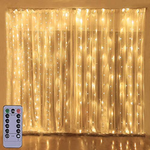 300LED Copper Wire Curtain Lights with Remote, 8 Modes DIY Pattern Flexible String Lights, Window and Wall Decorations for Garden, Room, Party (Warm White)