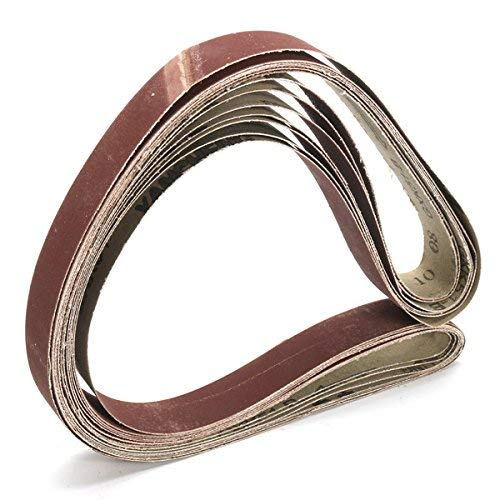 KANJJ-YU 7pcs 1x42 Pulgadas Mixta Cinturones Grit Set de Lijado 80-1000 Grit óxido de Aluminio Banda de Lijado Herramientas