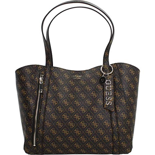 Guess NAYA Trap Tote, Bags Crossbody Donna, Brown, One Size