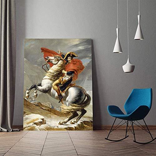 SXXRZA Póster de Arte 70x90cm sin Marco clásico Retrato de Napoleón Bonaparte Carteles de Caballos Impresiones Cuadro de Arte de Pared para la decoración del hogar de la Sala de Estar