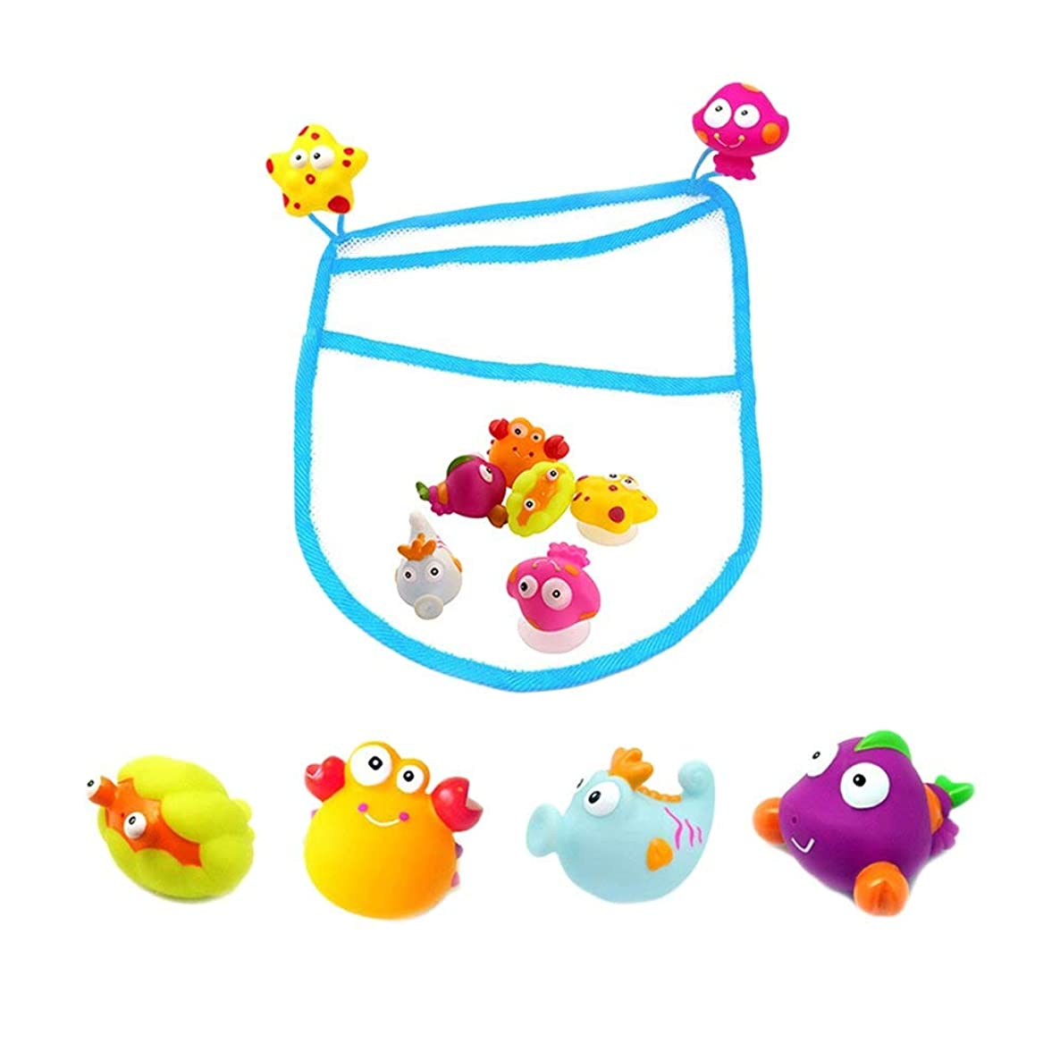 Storage Bags - 6pcs Baby Fishing Toys Funny Bathroom With Storage Bag Water Magnetic Toy Pool Kid Pretend Play - Packing Bulk Tree Dress Decorative Giant Vacuum Disposable Lego Clothes Co