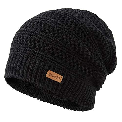 OMECHY Winter Knit Warm Hat for Mens & Women Stretch Plain Beanie Cuff Toboggan Cap Black