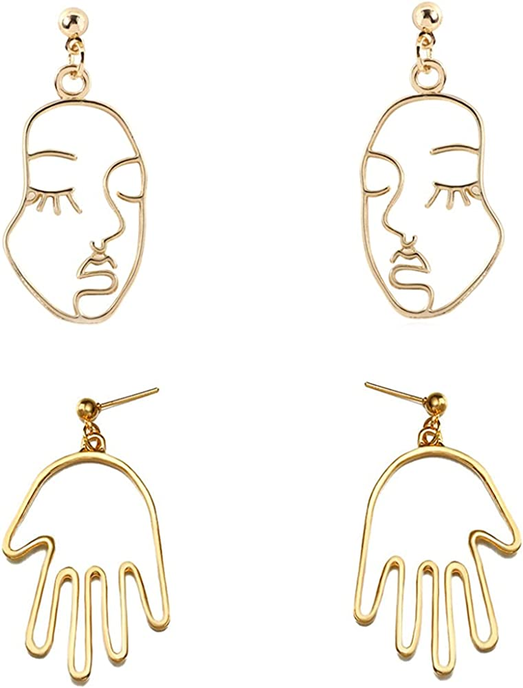 DIYANMMY 2 Pair Unique Abstract Geometric Gold Hollow Face Palm Metal Dangle Drop Earrings for Women Girls Punk Personalized Hypoallergenic Simulation Jewelry Gift