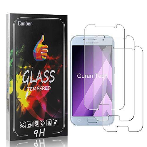 Conber [3 Stück] Displayschutzfolie kompatibel mit Samsung Galaxy A3 2017, Panzerglas Schutzfolie für Samsung Galaxy A3 2017 [Hüllenfreundlich][9H Härte]