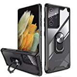 """QHOHQ Cover per Samsung Galaxy S21 Ultra 5G 6.8"""",[360° Rotante Staffa] [5 Volte Livello Militare Anti-Caduta Protezione],Cover Posteriore Trasparente per PC,Bordo in TPU Morbido-Nero"""