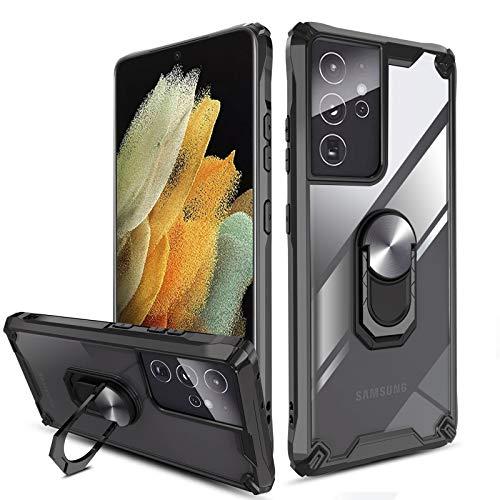 """QHOHQ Funda para Samsung Galaxy S21 Ultra 5G 6.8"""",[360° Giratorio Soporte] [5 Veces Grado Militar Anti-caída Protección],Carcasa Trasera Transparente para PC,Bordes de TPU Suave-Negro"""