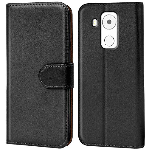 Verco Mate 8 Hülle, Handyhülle für Huawei Mate 8 Tasche PU Leder Flip Case Brieftasche - Schwarz