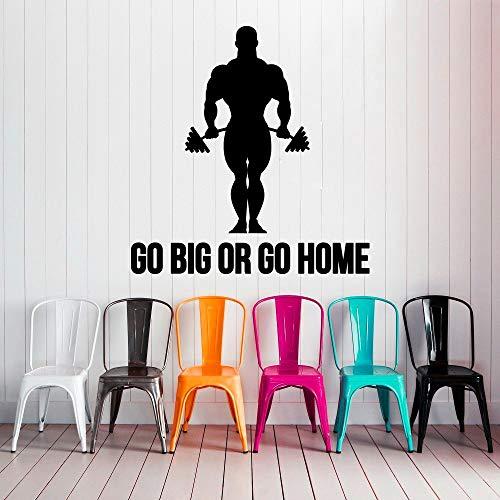Citar Go Big Or Home Tatuajes de pared Deporte Culturista Mural Gimnasio Vinilo Sticker Extraíble Interior Art Decor Living Room Decal 55X57CM