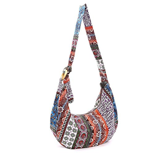 LUOEM Thai Hobo Crossbody Tasche Umhängetasche Messenger Bag Hippie Boho böhmischen Geldbörse