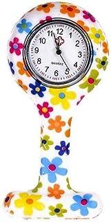 NorCWulT Moda Floral Clip de la Enfermera de Tipo T Fob de la Broche de la Jalea del silicón del Reloj Colgante de Bolsill...