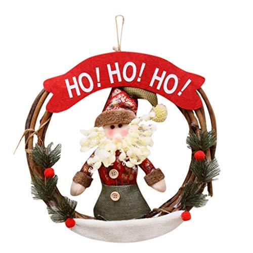 Sayla Weihnachten Dekoration Weihnachtskranz, 30cm Türkranz Weihnachten Weihnachtsdeko Kranz Weihnachtsgirlande mit Kugeln Handarbeit Weihnachten Garland Deko-Kranz (A)