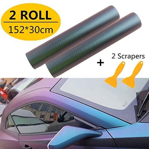 Mioke Lackschutzfolien für Auto,2Rolls 30 * 152cm Carbon Folie Matt,Auto Folien Selbstklebend Flexibel Auto Shutz Chamäleon FolieLila zu Blau, die Farbe ändert