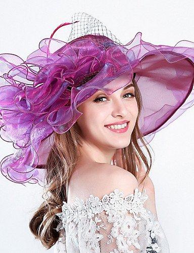 ZYT Femme Chapeau Fleur Filet de Tulle Bob Capeline Chapeau de Soleil,Rayures Printemps/Automne Eté Bandes, Khaki, One-Size