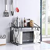 DAZONE Metal Microwave Rack Shelf Kitchen Counter and Cabinet Shelf (Black)
