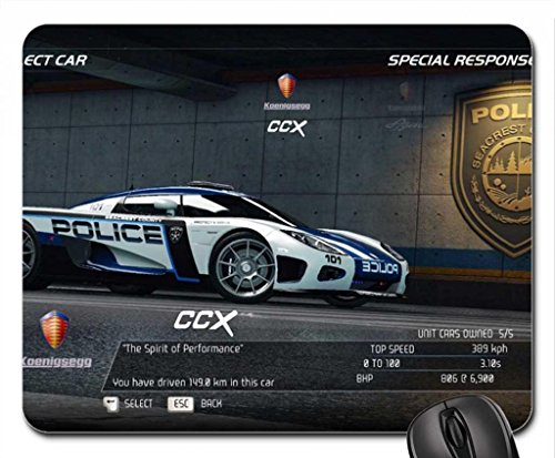 Koenigsegg CCX Police Car Mouse Pad, Mousepad (10.2 x 8.3 x 0.12 inches)