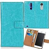 Dingshengk Blau Premium PU Leder Tasche Schutz Hülle Handy Hülle Wallet Cover Etui Ledertasche Für ARCHOS Access 50 Color 4G 5