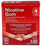 Rite Aid Nicotine Gum, 4 mg - 100 Count | Quit Smoking Aid | Nicotine Replacement Gum (Cinnamon)