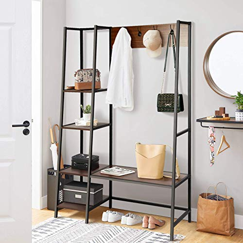 BackH Coat Rack with Hooks and Shelves Entryway Hall Tree 4 Tier Shelves Shoes Bench Rustic Style Industrial Storage Shelves Wood Accent Furniture Walnut Walnut