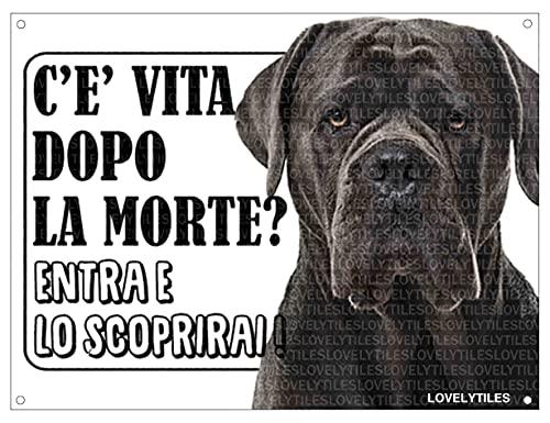 Lovelytiles Cane Corso ATTENTI al Cane Esiste LA Vita Dopo LA Morte? Targa Cartello INSEGNA (Metallo)