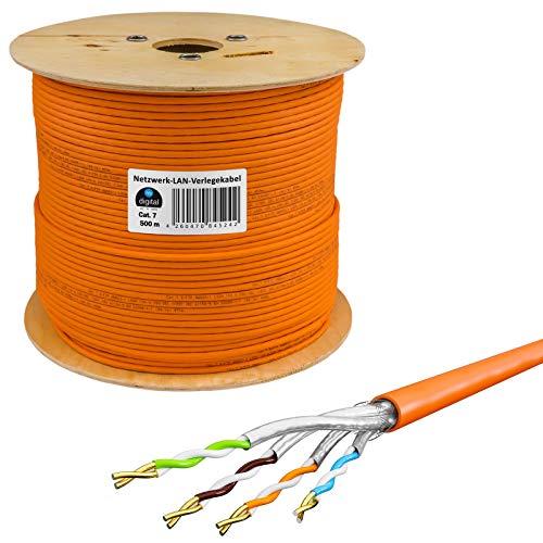HB-Digital 500m Netzwerkkabel LAN Verlegekabel Cabel cat 7 Kupfer S/FTP PIMF LSZH Halogenfrei orange RoHS-Compliant cat. 7 AWG 23/1