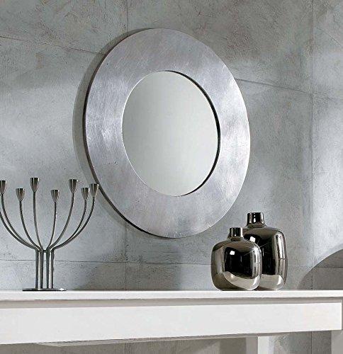 Legno&Design Miroir moderne rond feuille argentée.
