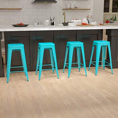 Flash Furniture 30' High Metal Indoor Bar Stool in Teal - Stackable Set of 4