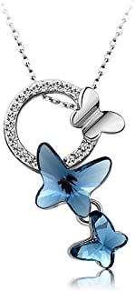 Yellow Chimes Crystals from Swarovski Blue Butterfly Designer Crystal Pendant for Women and Girls