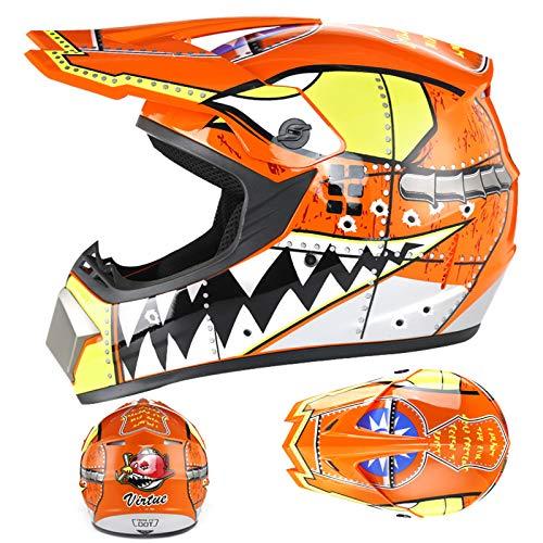 YQY Casco de Motocicleta de Motocicleta de Cara Completa con la Moda de Visera,Naranja,M