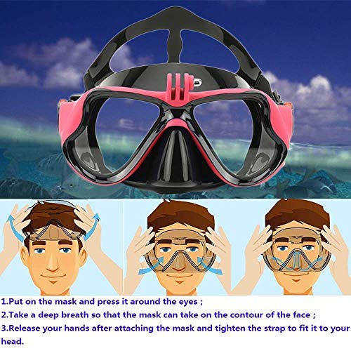 V VILISUN Dry Snorkel Set, Scuba Diving Mask with Camera Mount, Anti-Fog Wide View Tempered Glass, Anti-Leak Dry Snorkel, Food-Grade Silicone Snorkelling Gear for Women Men