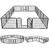 Yaheetech 16 Vallas para Perros Extensible Plegable Vallas para Jardin Metalicas Jaula Perro Grande Exterior Corrales para Cachorro 80x60x