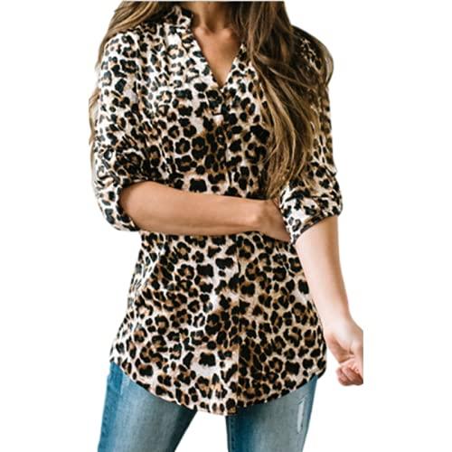 Damska bluzka z dekoltem w szpic Moda Dopasowanie kolorów Osobowość Drukowanie Casual Wygodna bluzka Trend All-matchM