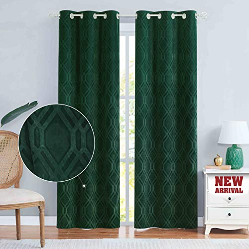 """Nottingson Home Velvet Hunter Green Curtains 84 Inche Long for Living Room/Bedroom Moroccan Pattern Luxury Drapes Embossed Room Darkening Window Treatment with Grommets Dark Green 40"""" Wx84 L,Set of 2"""