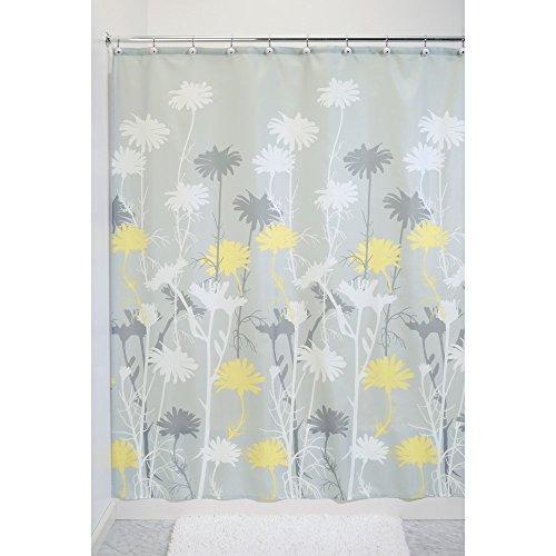iDesign Daizy Duschvorhang | Designer Duschvorhang mit stabiler Aufhängung| zeitlos schöner Badewannenvorhang 183,0 cm x 183,0 cm | Polyester grau/gelb